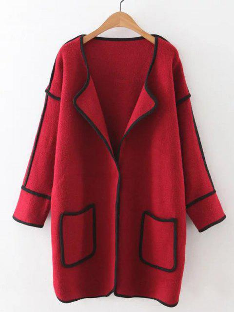 Automne Poches couvert Bord Cardigan - Rouge ONE SIZE
