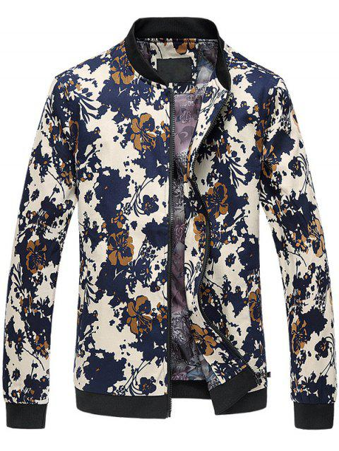 Zip Up Stand Collar 3D Floral Printed Plus Size Jacket - COLORMIX L