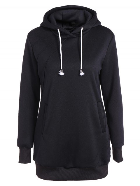 Pleated Pullover Long Hoodie - BLACK XL