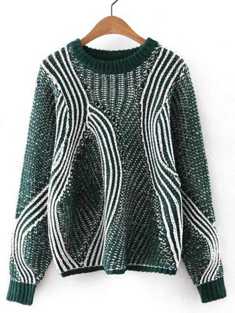 Automne Stripy Patch design évider Sweater - Vert M
