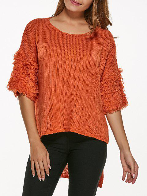 Half Sleeve High Low Pull Tricots - Tangerine ONE SIZE