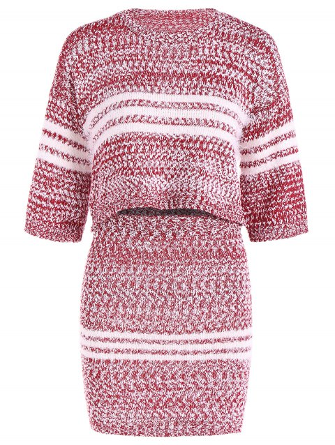 Striped Pull court et moulante Mini-jupe - Rouge ONE SIZE