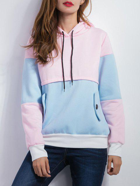 Color Spliced Pullover Hoodie - BLUE/PINK XL
