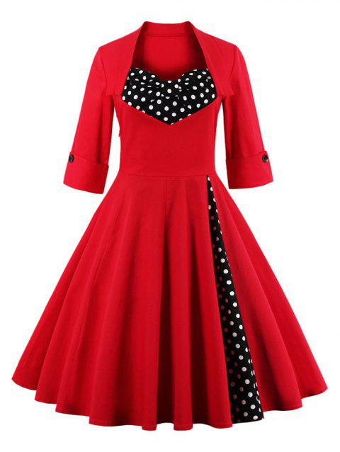 Bowknot Panel Flare Rockabilly Swing Dress - RED 2XL