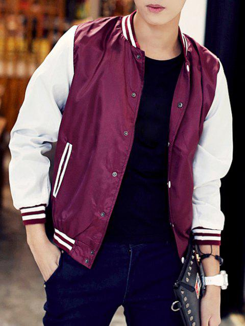 Rib Insert Snap Button Up Baseball Jacket - WINE RED L
