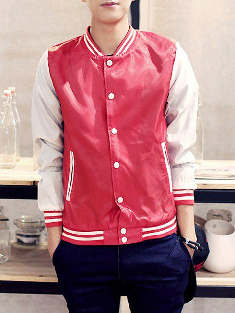Rib Insert Snap Button Up Baseball Jacket - RED L