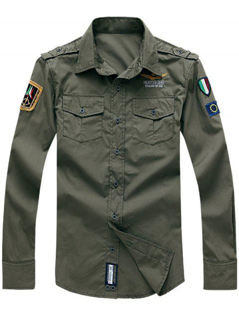 Turn-Down Collar Embroidery Flap Pocket Long Sleeves Shirt - ARMY GREEN 3XL