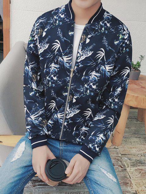 Plant Printed Stand Collar Zip Up Jacket - DEEP BLUE 2XL