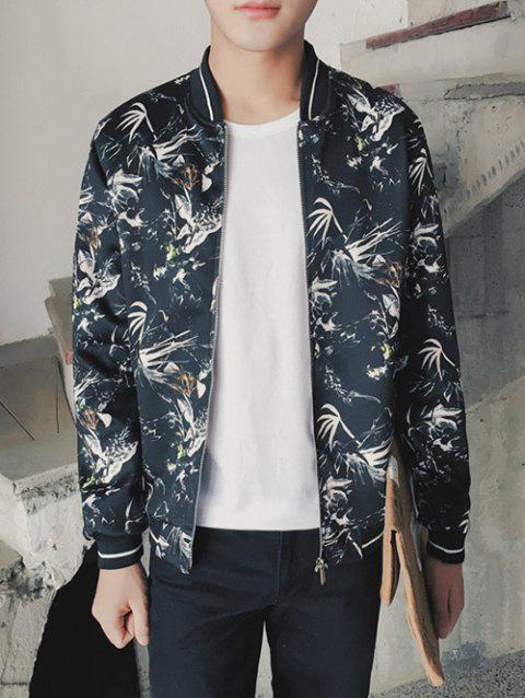 Plant Printed Stand Collar Zip Up Jacket - BLACK L