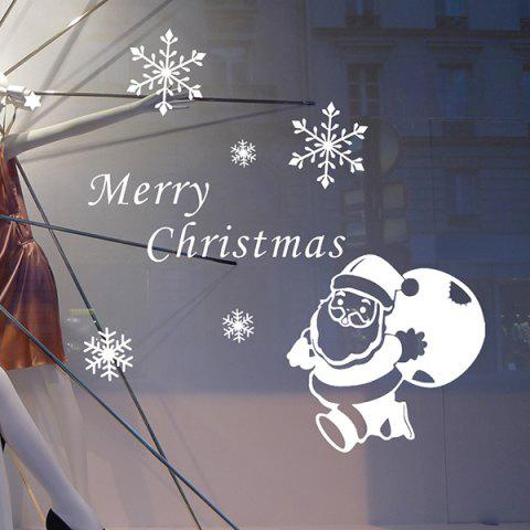 Christmas Santa Claus Gift Removeable Wall Sticker - WHITE
