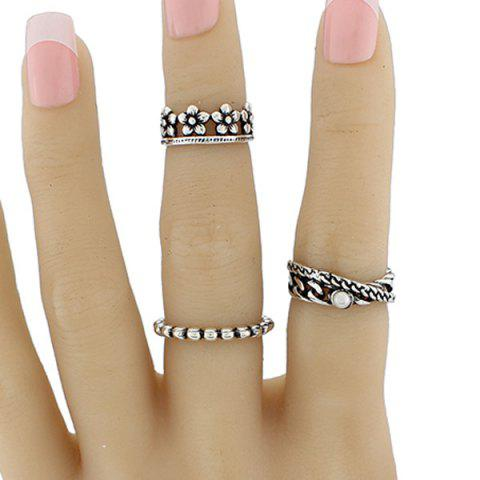 Faux Pearl Circle Flower Jewelry Ring Set - SILVER ONE-SIZE