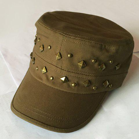 d59b752f132a2 Stylish Rivets Embellished Solid Color Women s Military Hat - ARMY GREEN