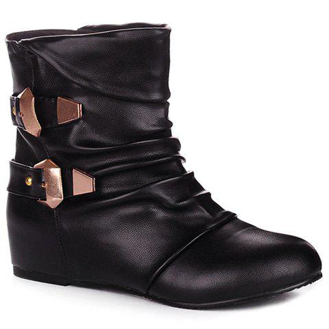 Double Buckle Ruched PU Leather Short Boots - BLACK 42