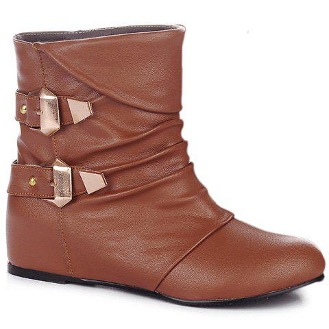 Double Buckle Ruched PU Leather Short Boots - BROWN 39