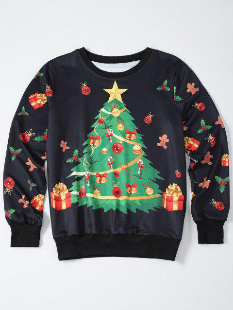 Christmas Tree Print Pullover Sweatshirt - BLACK M