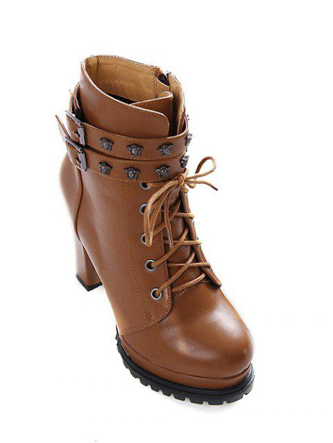Lace-Up Metal Double Buckle Ankle Boots - LIGHT BROWN 39