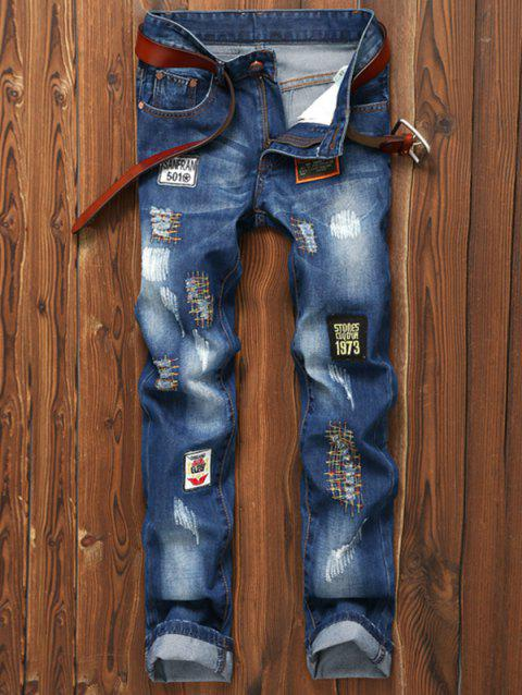 Patched Appliques Holes Zipper Fly Straight Leg Jeans - BLUE 34