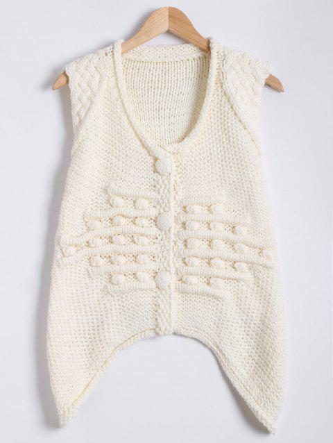 3D Jacquard Crescent Hem Hand-Knitted Sweater Vest - WHITE ONE SIZE