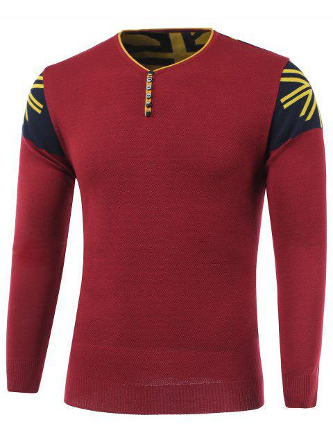 Color Block Spliced Buttons Embellished V-Neck Long Sleeve Sweater - RED XL