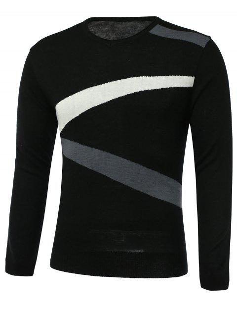 Color Block Spliced Design V-Neck Long Sleeve Sweater - BLACK 3XL