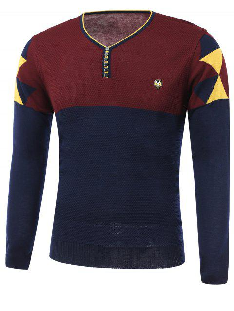 Color Block Spliced Badge Embellished V-Neck Long Sleeve Sweater - CADETBLUE 3XL