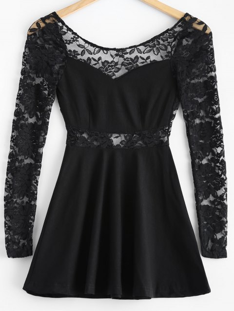 3/4 Sleeve Lace-Insert Backless Dress - BLACK M