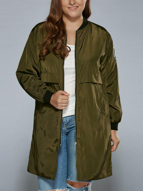 Plus Size Zip Up Patched Ruffled Trench Coat - ARMY GREEN 3XL