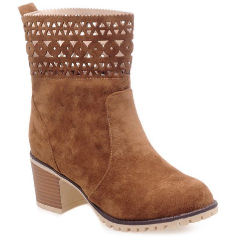 Hollow Out Suede Chunky Heel Boots - BROWN 41