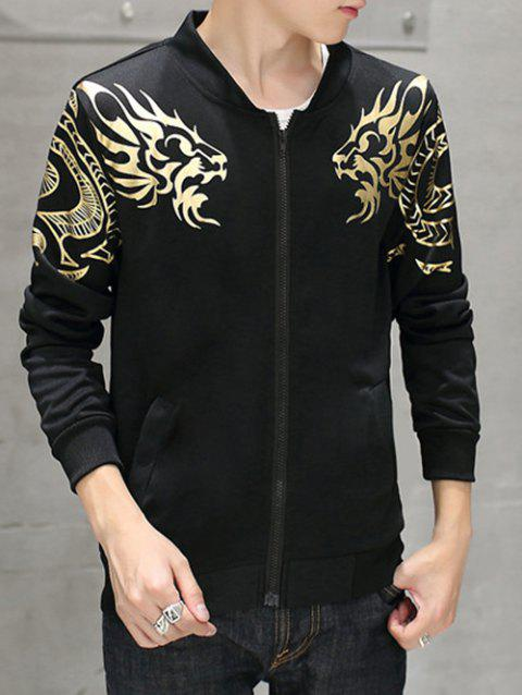 Stand Collar Foil Print Zip Up Jacket - BLACK M