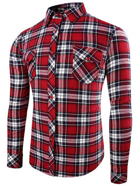 Front Pocket Design Plaid Long Sleeve Shirt - RED L