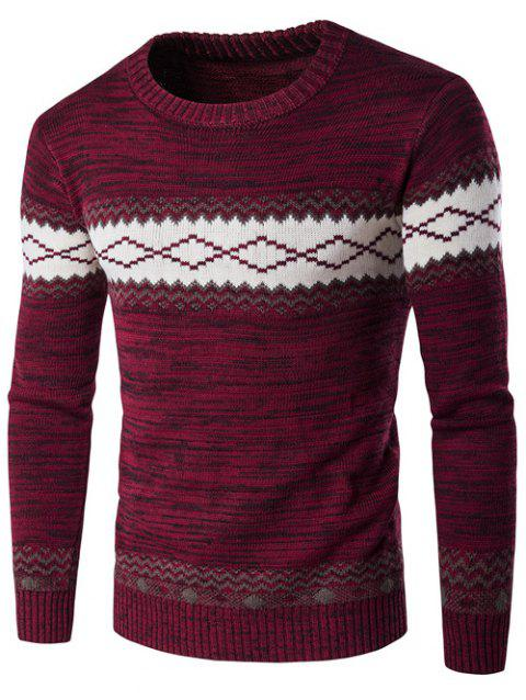 Geometric Crew Neck Space Dyed Sweater - WINE RED 2XL