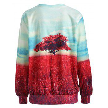 Colorful Tree Print Long Sleeve Sweatshirt - COLORMIX COLORMIX
