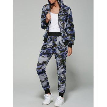 Camouflage Print Hooded Gym Outfits