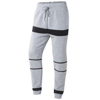 Striped Color Splicing Drawstring Beam Feet Jogger Pants