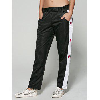 Color Spliced Love Heart Embroidered Sporty Pants