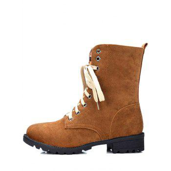 Trendy Lace-Up and Solid Color Design Women's Combat Boots - BROWN 38