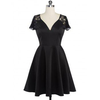 Fit and Flare Lace Spliced Dress - BLACK BLACK