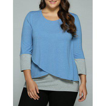Plus Size Overlay Spliced Blouse