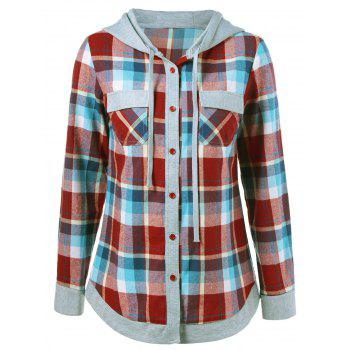 Single Breasted Double Pockets Plaid Hoodie - CHECKED CHECKED