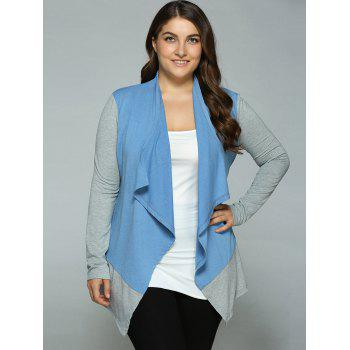 Plus Size Spliced Asymmetrical Cardigan