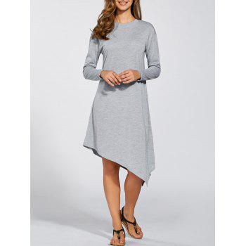 Long Sleeves Asymmetric Midi Dress