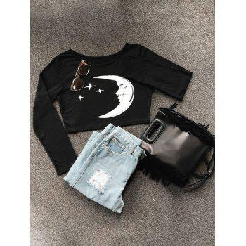Long Sleeve Moon Star Crop Top