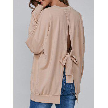 Open Back Bowknot Loose Sweatshirt