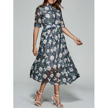 Floral Print Tea Length Chiffon Dress