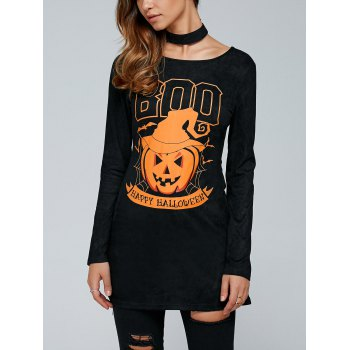 Pumpkin Print Long Sleeve Halloween T-Shirt