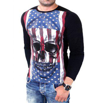 Long Sleeve Skull 3D Print T-Shirt