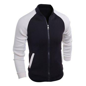 Stand Collar Zip-Up Raglan Sleeve Jacket