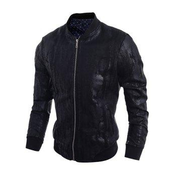 Stand Collar Zip-Up Crack Design PU-Leather Bomber Jacket