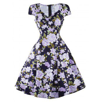 Floral Cap Sleeve Fit and Flare Dress