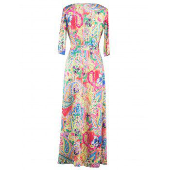 Wrap Patterned Maxi Dress with Sleeves - Jaune XL